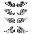 set of wings isolated on white background vector image