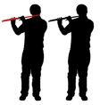 Silhouette of musician playing the flute vector image