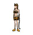 tigress woman in costume with ears tail party vector image