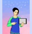 young woman holding a tablet and communicating vector image