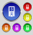 atm icon sign Round symbol on bright colourful vector image