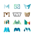 Letter M logo set Color icon templates design vector image