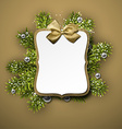 Paper gift card over spruce twigs vector image