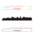 Huntington skyline linear style with rainbow vector image