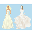 Set of stylized silhouettes of a bride in her wedd vector image vector image