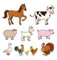 Farm animals in cartoon style vector image