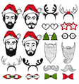 christmas hipster faces set vector image