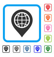 globe map marker framed icon vector image