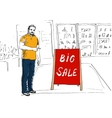Seller showing stand Big Sale vector image