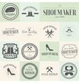Set of vintage shoes repair and shoemaker labels vector image