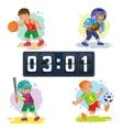 Set icons of boys playing basketball football vector image