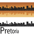 Pretoria skyline in orange background vector image vector image