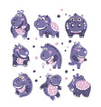 stylized hippo with polka-dotted pattern set of
