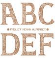 paisley henna alphabet abcdef vector image