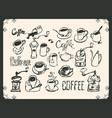 set drawing utensils for drinking tea and coffee vector image