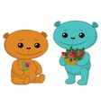 teddy bears with flowers vector image vector image