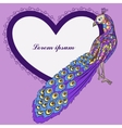 Background with peacock and heart shape banner vector image
