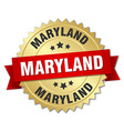 Maryland round golden badge with red ribbon vector image