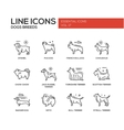 Dog breeds - line design icons set vector image