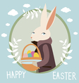 Happy easter design with rabbit vector image
