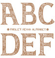 paisley henna alphabet abcdef vector image