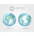 polygonal globe 3D triangular World map of vector image