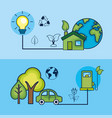 set ecology to natural environment care vector image