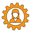 woman and gear wheel vector image