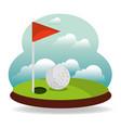 golf hole flag and landscape vector image