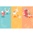 Grunge banners with cute coffee cup vector image
