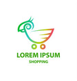 linear cockatoo and shopping trolley logo vector image