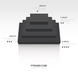 pyramid cube infographic top view black color vector image