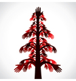 red and brown hand tree vector image