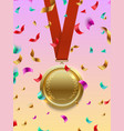 winner concept - gold medal on red ribbon vector image