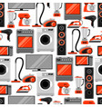 seamless pattern with home appliances household vector image