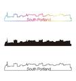 South Portland skyline linear style with rainbow vector image