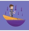 Businessman standing in sinking boat vector image