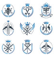 vintage weapon emblems set vintage design vector image