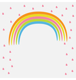 Rainbow and pink heart rain Flat design style vector image