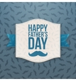 Happy Fathers Day paper Banner with blue Ribbon vector image