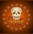 day of the dead sugar skull and marigold vector image