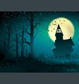 halloween hut moon light trees mystical night vector image