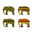 indian elephant pattern black and yellow colors vector image