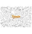 Repairs doodle set with lettering vector image