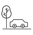 line car transportation in the road via with tree vector image vector image