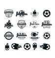 set of soccer emblems and icons vector image