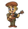 boy playing a jazz guitar vector image vector image