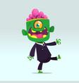 cartoon funny green zombie vector image