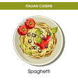 italian cuisine spaghetti pasta icon for vector image