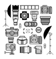 Monochrome photographer kit camera elements vector image
